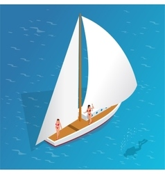 Luxury vacation on a yacht in the sea Romantic vector image