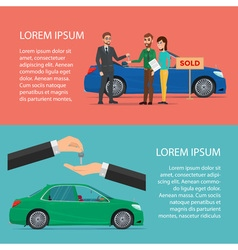 Rent and Buying Car horizontal Cartoon poster vector image