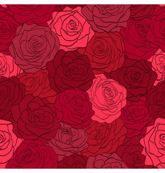 seamless pattern in red roses with contours vector image vector image