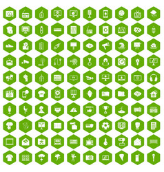 100 tv icons hexagon green vector
