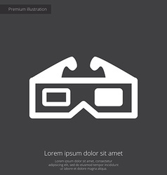 3d movie premium icon white on dark background vector image