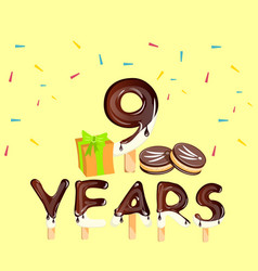 9th anniversary celebration with gift vector image