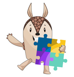 armadillo with puzzle on white background vector image