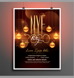 attractive new year party flyer in golden theme vector image