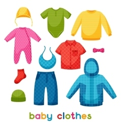 Baby clothes set of clothing items for newborns vector