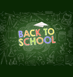 Back to school background with education supplies vector