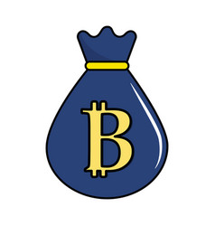 Bag with bitcoin currency digital symbol vector