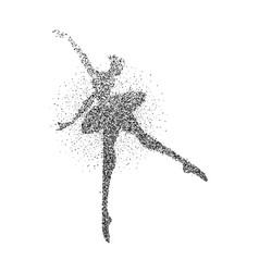 Ballet dancer girl particle splash silhouette vector