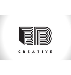 Bb logo letter with black lines design line letter vector
