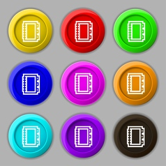 Book icon sign symbol on nine round colourful vector image