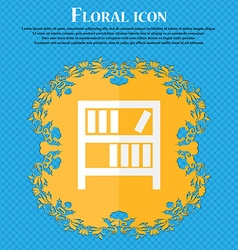 Bookshelf icon sign Floral flat design on a blue vector