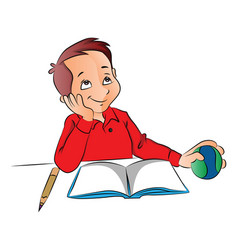 boy dreaming with ball book and pencil on desk vector image