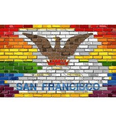 Brick wall san francisco and gay flags vector