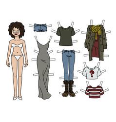 brunette paper doll vector image