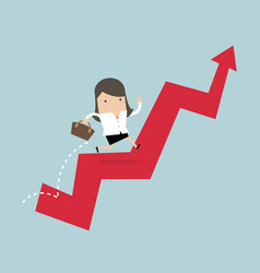 businesswoman jump over growing chart vector image