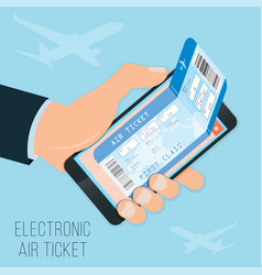 Buying a ticket online e-ticket in the smartphone vector