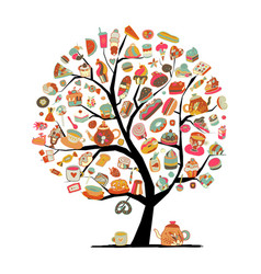Cakes and sweets art tree for your design vector