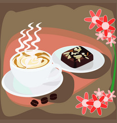 Cappuccino coffee and chocolate brownies cake vector
