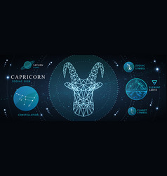 Card with astrology capricorn neon zodiac sign vector