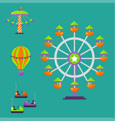 carousels amusement attraction park side-show kids vector image