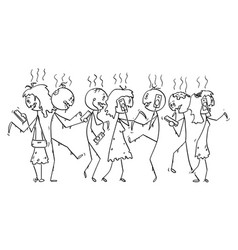cartoon crowd addicted zombies or dead vector image