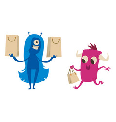 Cartoon cute monster shopping character vector