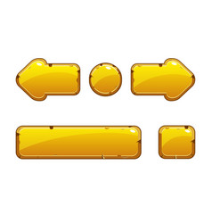 cartoon gold old buttons for game or web design vector image