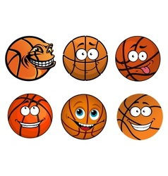 Cartoon happy traditional shaped basketball balls vector
