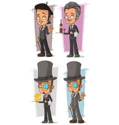 cartoon intelligent in suit character set vector image