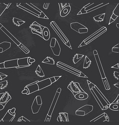 chalkboard pencil pen sharpener and stationery vector image