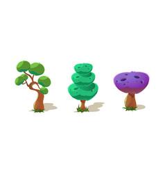 colorful fantastic trees nature landscape vector image