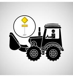 Construction truck concept road sign design vector
