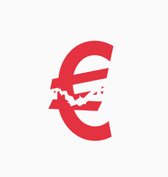 crashed euro sign financial crisis vector image