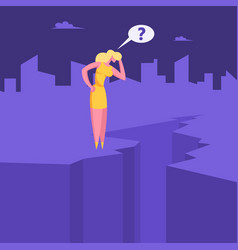 Crisis concept confused businesswoman stand vector