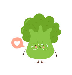 Cute happy smiling broccoli with heart vector