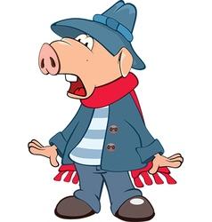 Cute Pig Cartoon Character vector image