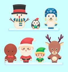 Cute santa little funny elf polar bear penguin vector