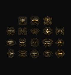 decorative golden logo set in vintage style vector image