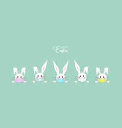 easter set white bunny rabbit wear a medical mask vector image