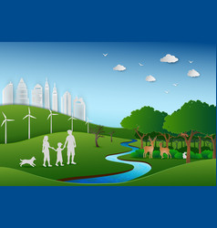 Family back to the green nature landscape vector