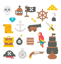 Flat design pirate items vector image