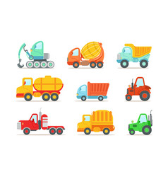 flat set colorful construction and cargo vector image