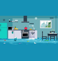 Flood in the kitchen vector