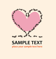 footprints heart love vector image