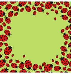 Frame with variegated ladybugs vector