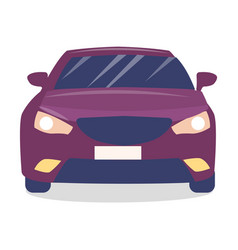 Front view purple modern car with turned vector