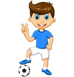 Funny boy cartoon peace with football vector