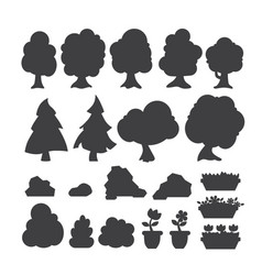 garden trees silhouette flowers grass game vector image