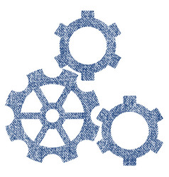 Gears fabric textured icon vector