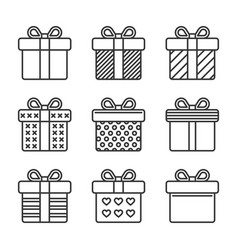 gift box icons set on white background line style vector image